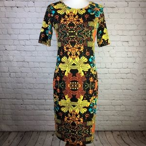 LulaRoe Colorful Floral Midi Dress Size Small